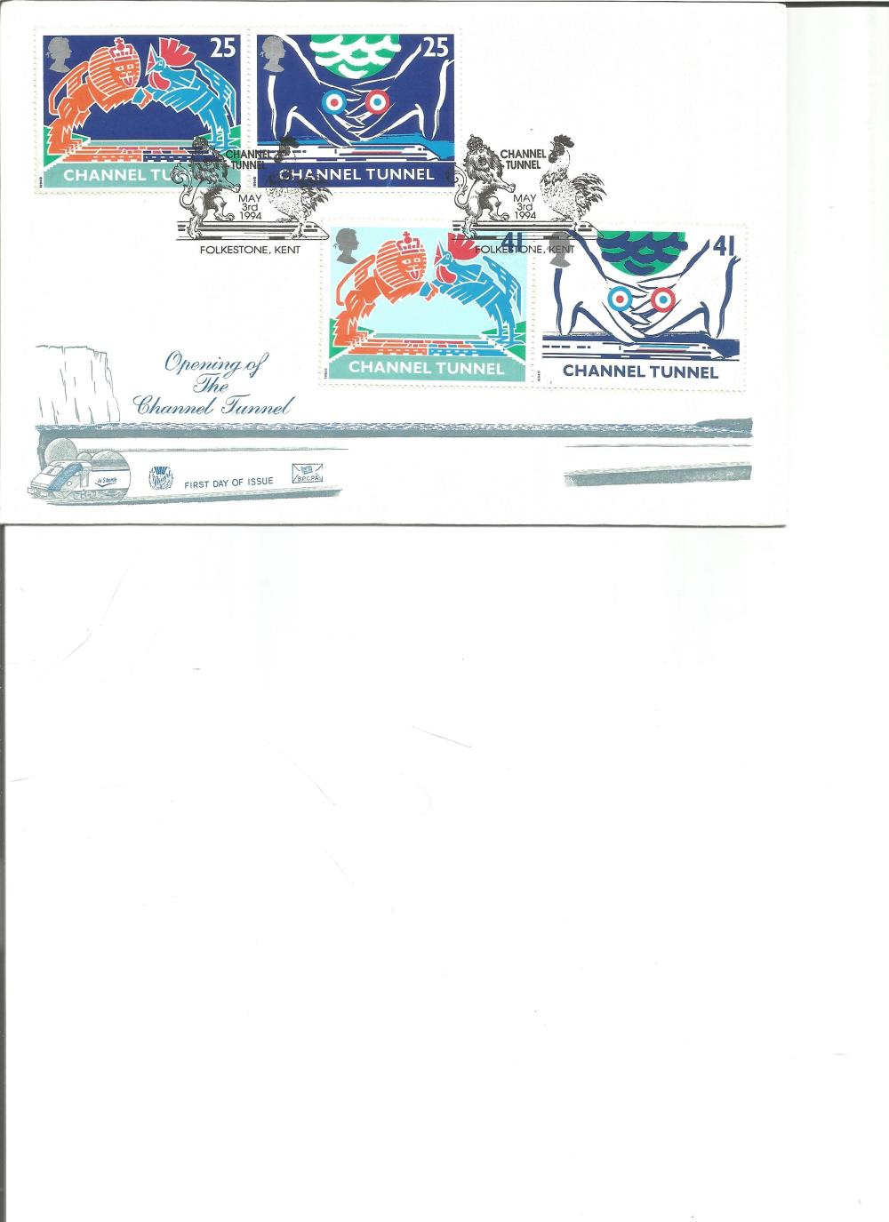 FDC Opening of the Channel Tunnel c/w set of four commemorative stamps double PM Channel Tunnel