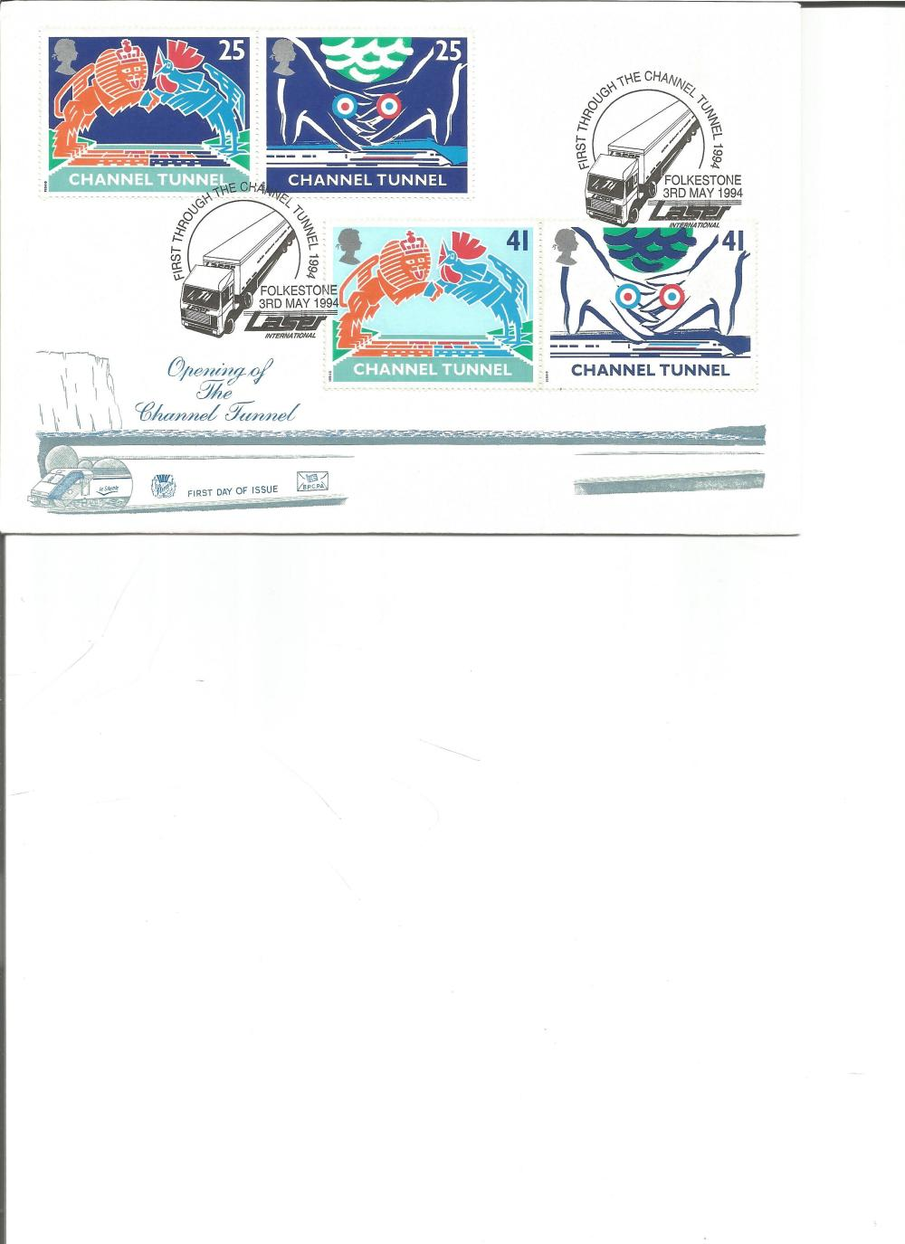FDC Opening of the Channel Tunnel c/w set of four commemorative stamps double PM First Through The