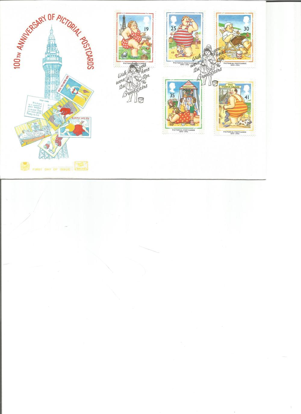 FDC 100TH Anniversary of Pictorial Postcards c/w set of five commemorative stamps , double PM Wish