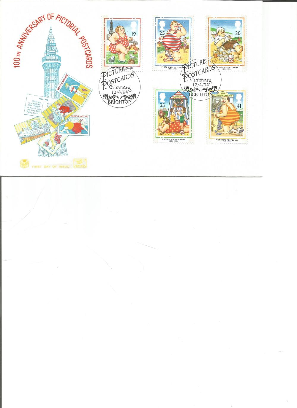 FDC 100TH Anniversary of Pictorial Postcards c/w set of five commemorative stamps , double PM