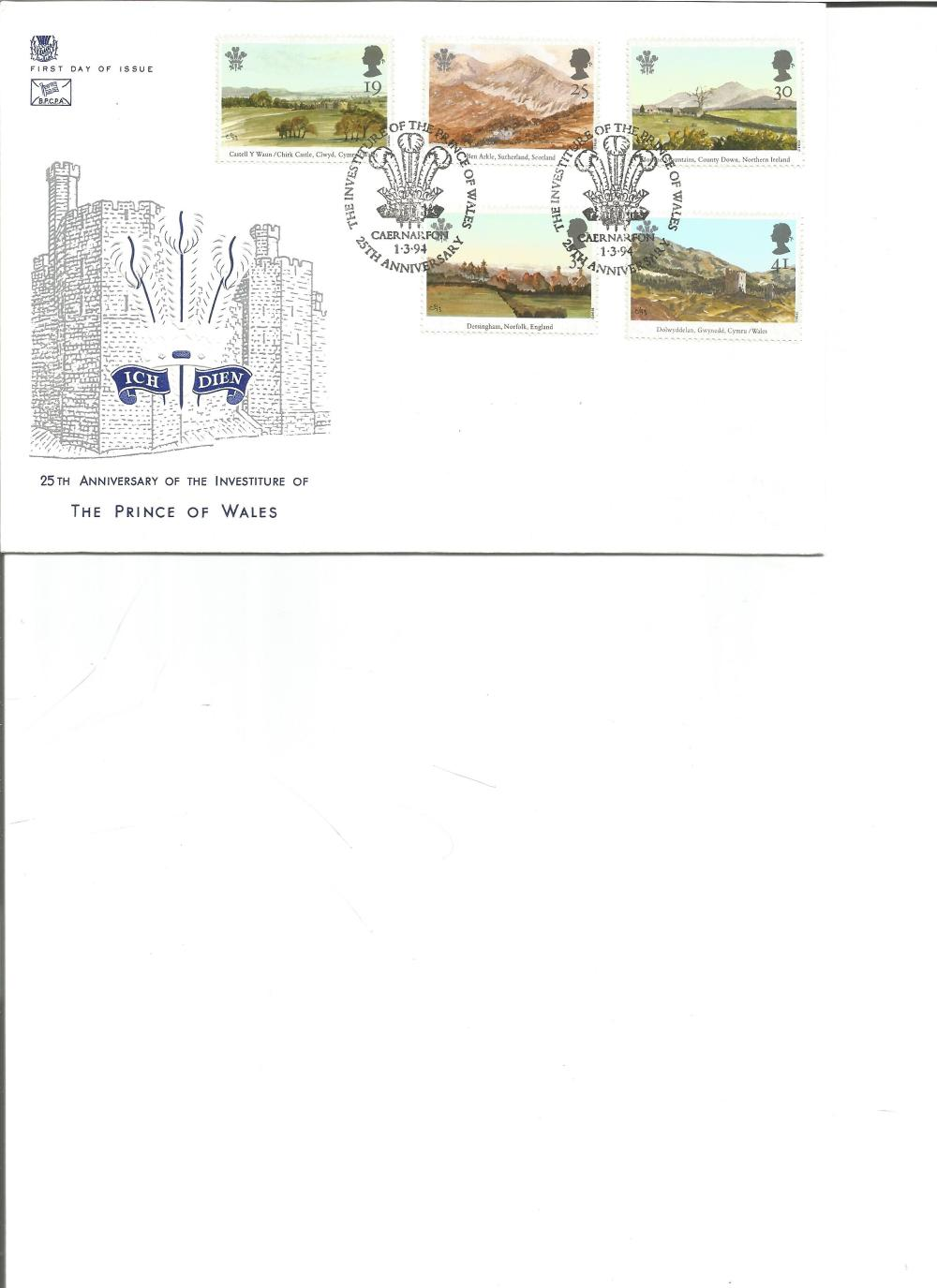 FDC 25TH Anniversary of the Investiture of The Prince of Wales c/w set of five commemorative