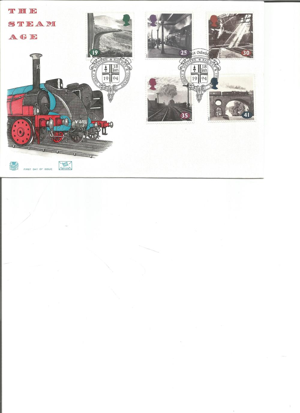 FDC The Steam Age c/w set of five commemorative stamps PM Didcot Oxfordshire, Great Western