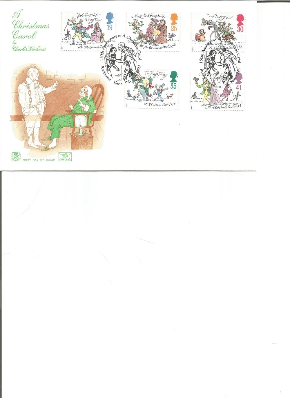 FDC A Christmas Carol by Charles Dickens c/e five commemorative stamps double PM 150th Anniversary