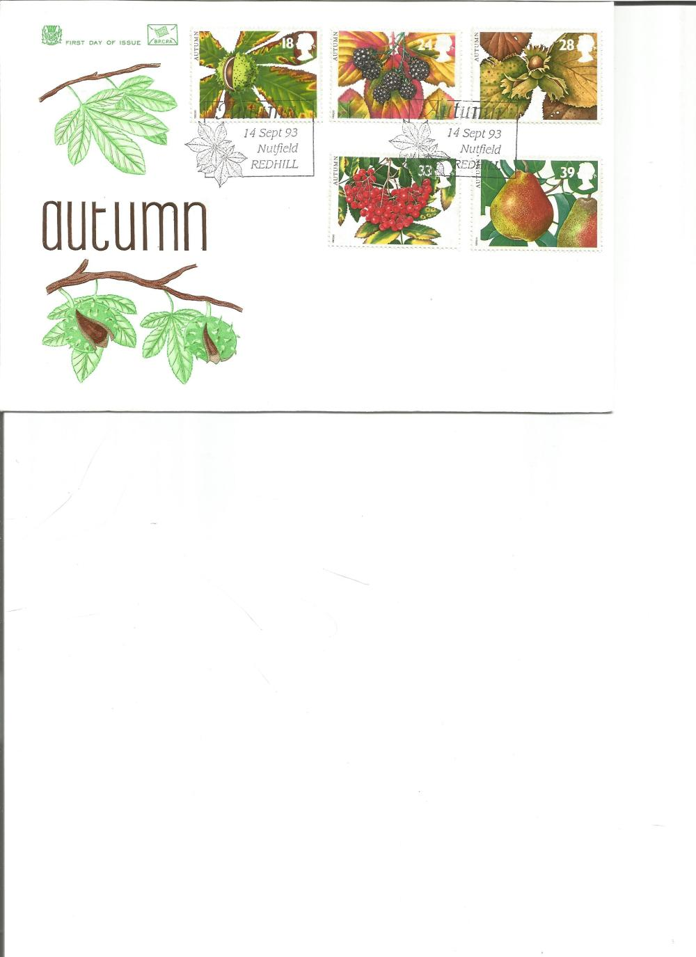 FDC Autumn c/w set of five commemorative stamps double PM Autumn 14 Sept 93 Nutfield, Redhill. We