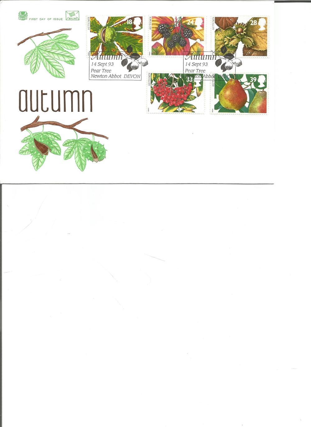 FDC Autumn c/w set of five commemorative stamps double PM Autumn 14 Sept 93 Pear Tree , Newton