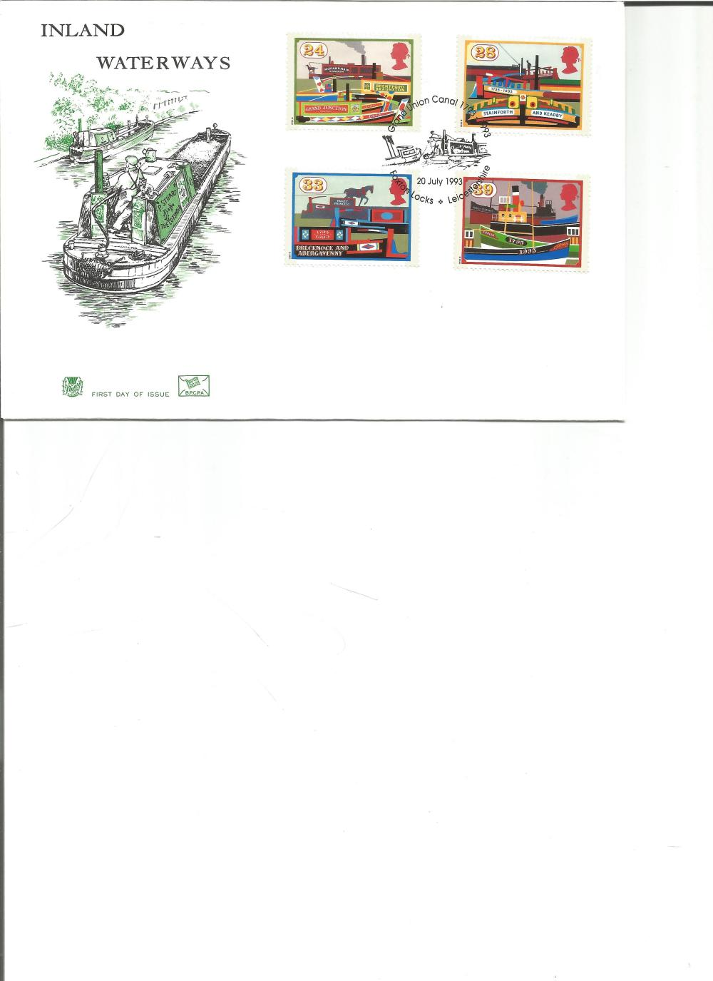 FDC Inland Waterways c/w set of four commemorative stamps PM Great Union Canal 1793-1993 Foxton
