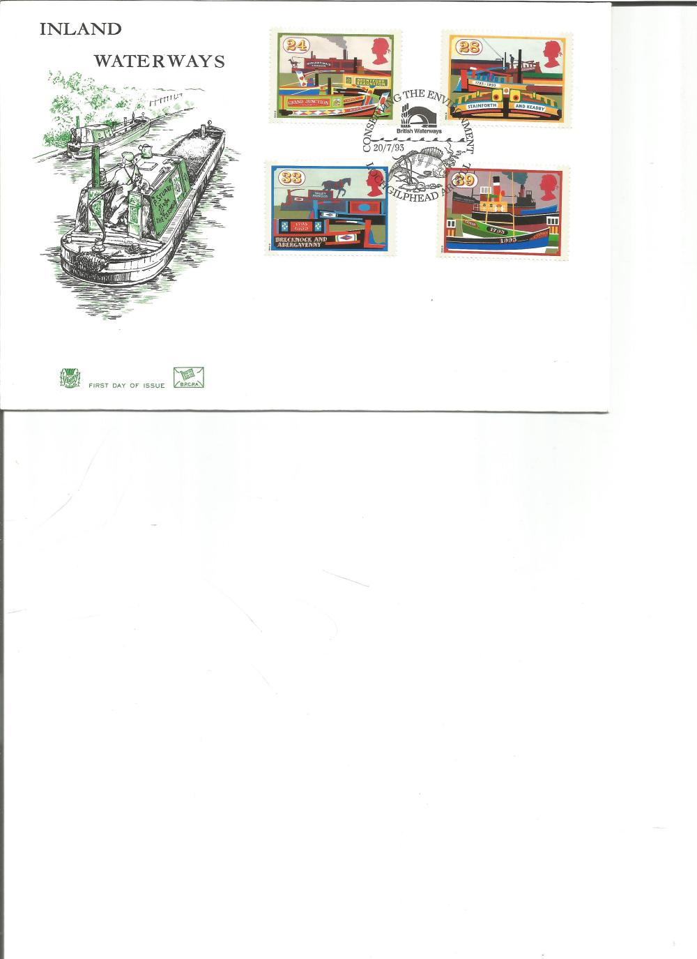 FDC Inland Waterways c/w set of four commemorative stamps PM Conserving the Environment, Loch