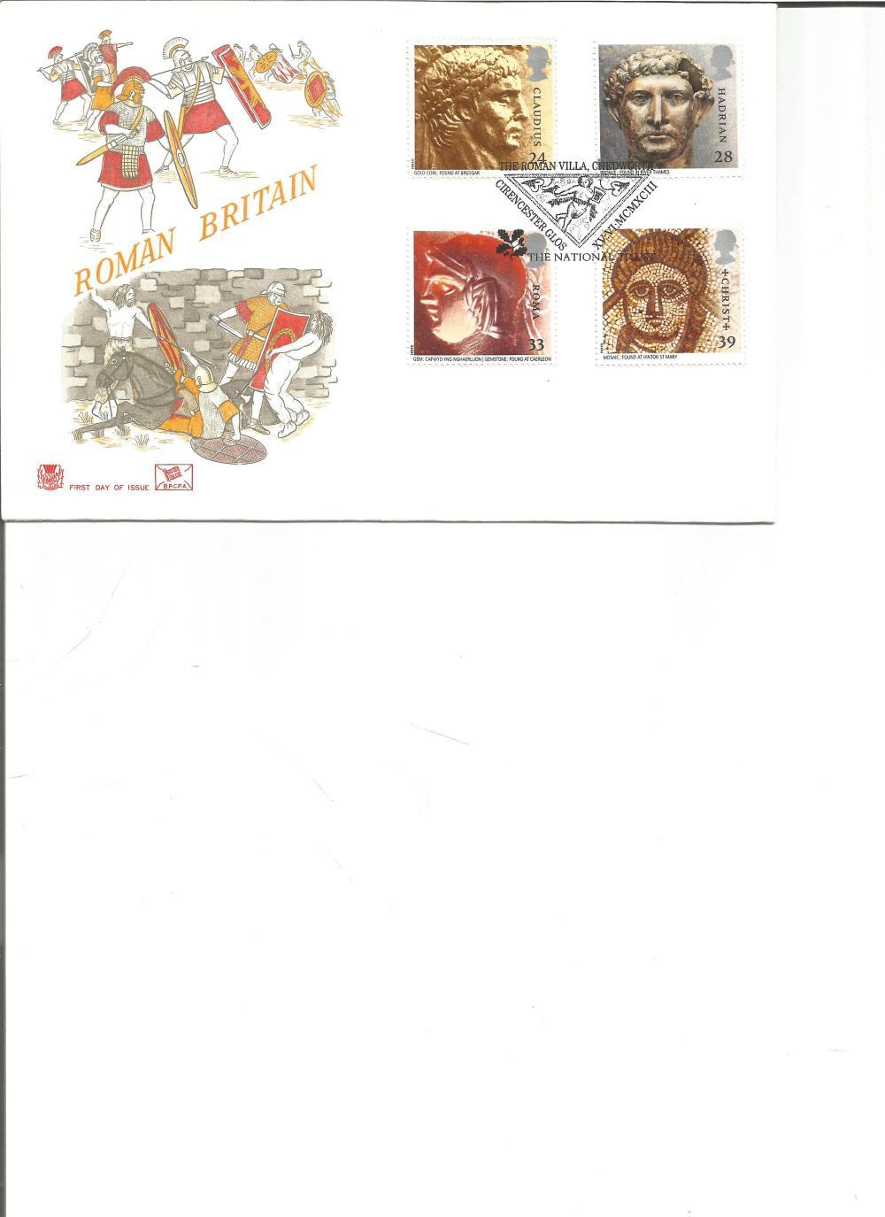 FDC Roman Britain c/w set four commemorative stamps PM The Roman Villa, Chedworth, Cirencester,