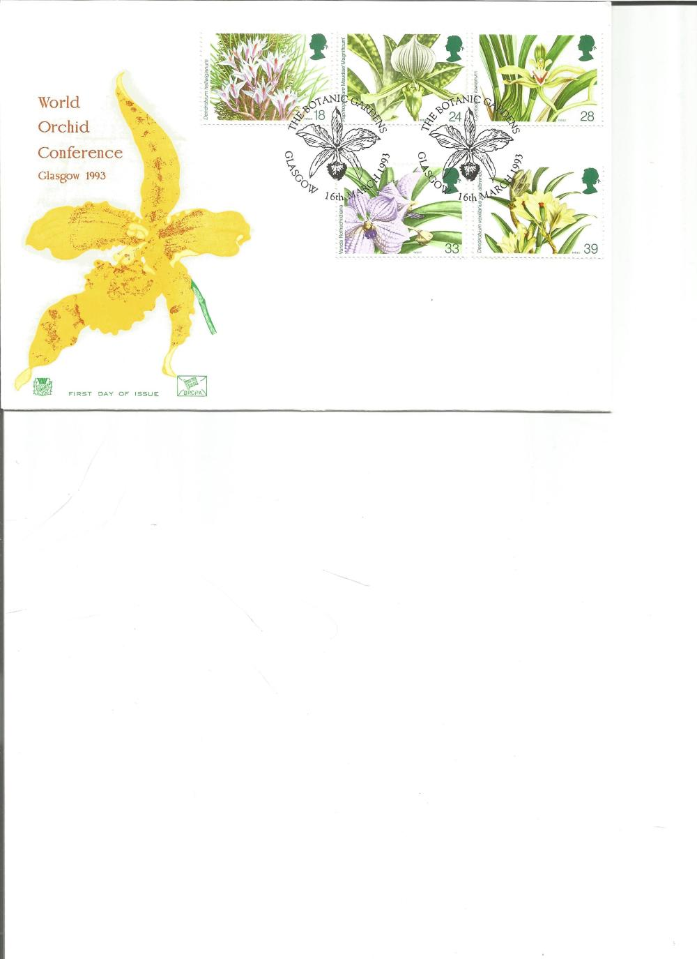 FDC World Orchid Conference Glasgow 1993 c/w five commemorative stamps, double PM The Botanic