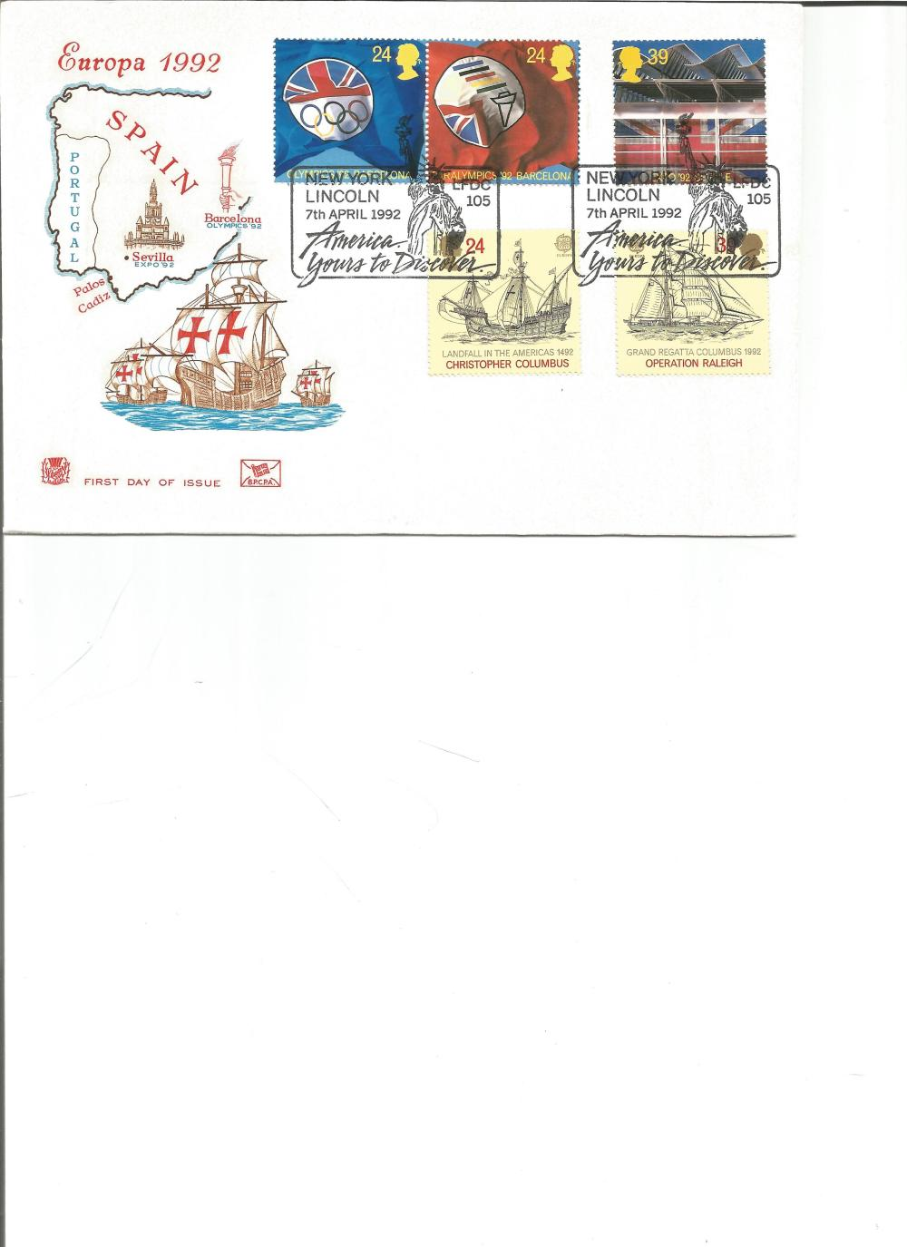 FDC Europa 1992 Spain c/w set of five commemorative stamps double PM New York Lincoln 7th April 1992