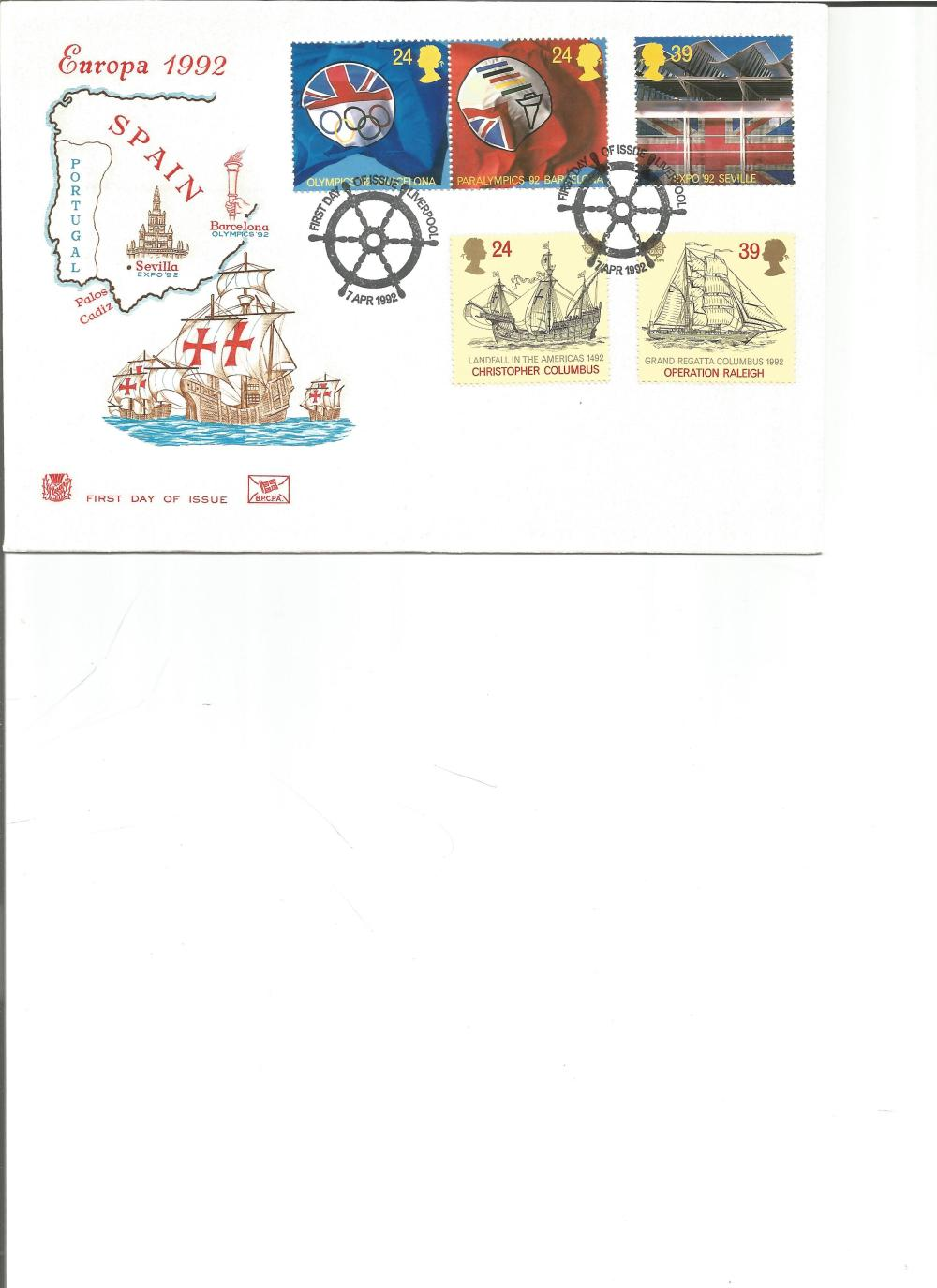FDC Europa 1992 Spain c/w set of five commemorative stamps double PM First Day of Issue Liverpool
