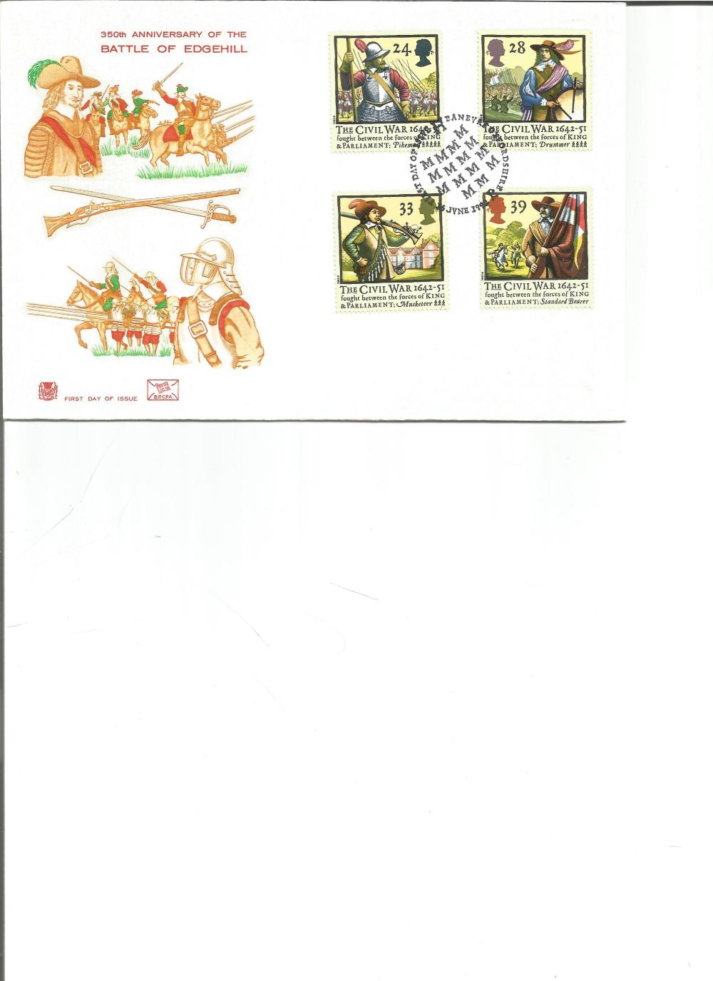 FDC 350TH Anniversary of the Battle of Edgehill c/w set of four commemorative stamps PM First day of