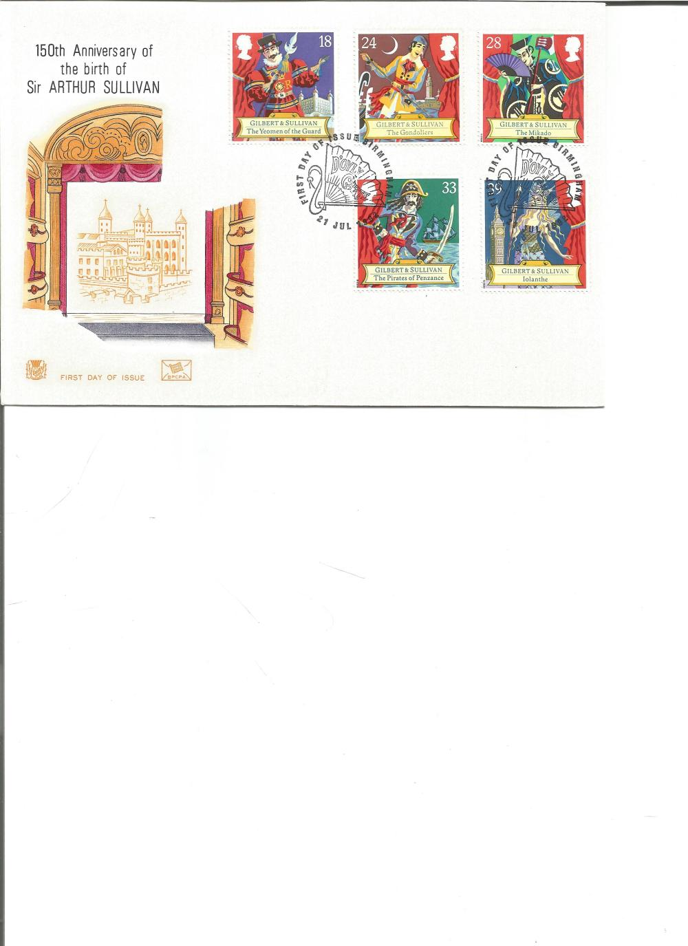 FDC 150TH Anniversary of the birth of Sir Arthur Sullivan c/w set of five commemorative stamps,