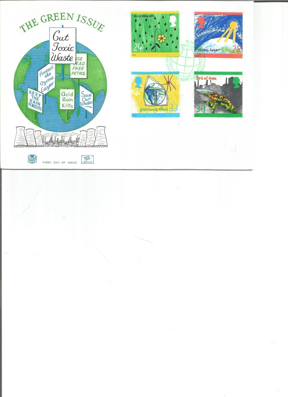 FDC The Green Issue c/w set of four commemorative stamps PM First Day of Issue 16th Sept 1992. We