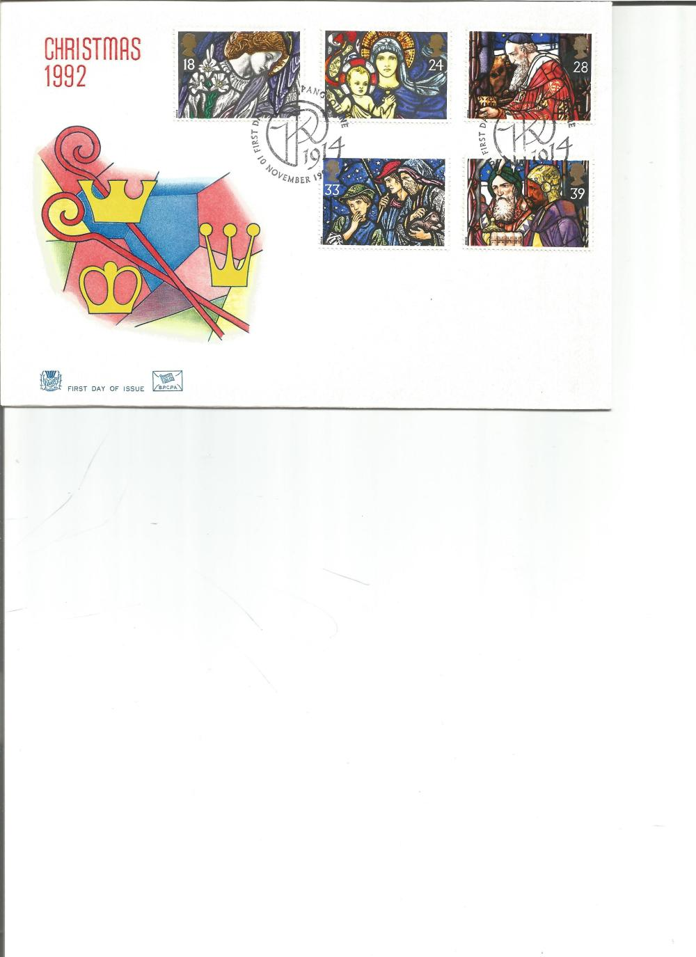FDC Christmas 1992 c/w set of five commemorative stamps PM 10th November 1992. We combine postage on