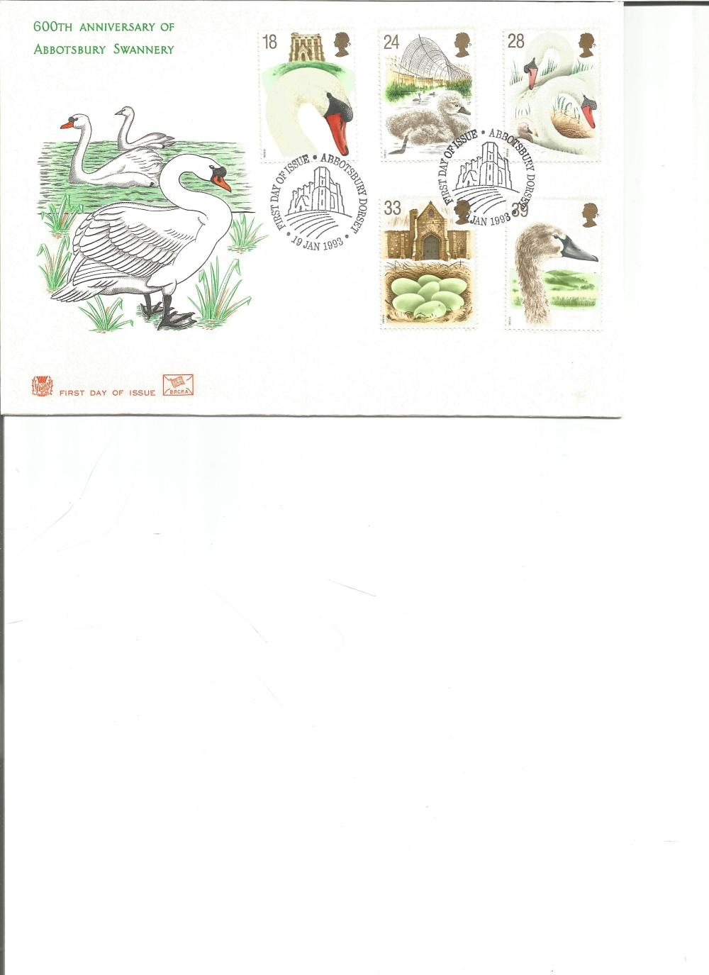 FDC 600TH Anniversary of the Abbotsbury Swannery c/w set of five commemorative stamps PM First Day