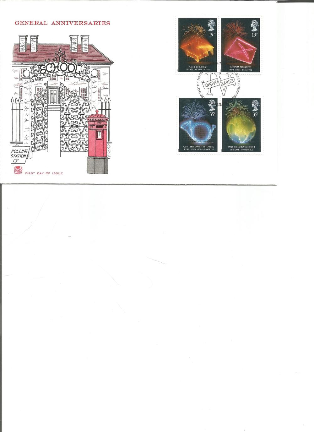 FDC General Anniversaries c/w set of four commemorative stamps PM First Day of Issues Philatelic