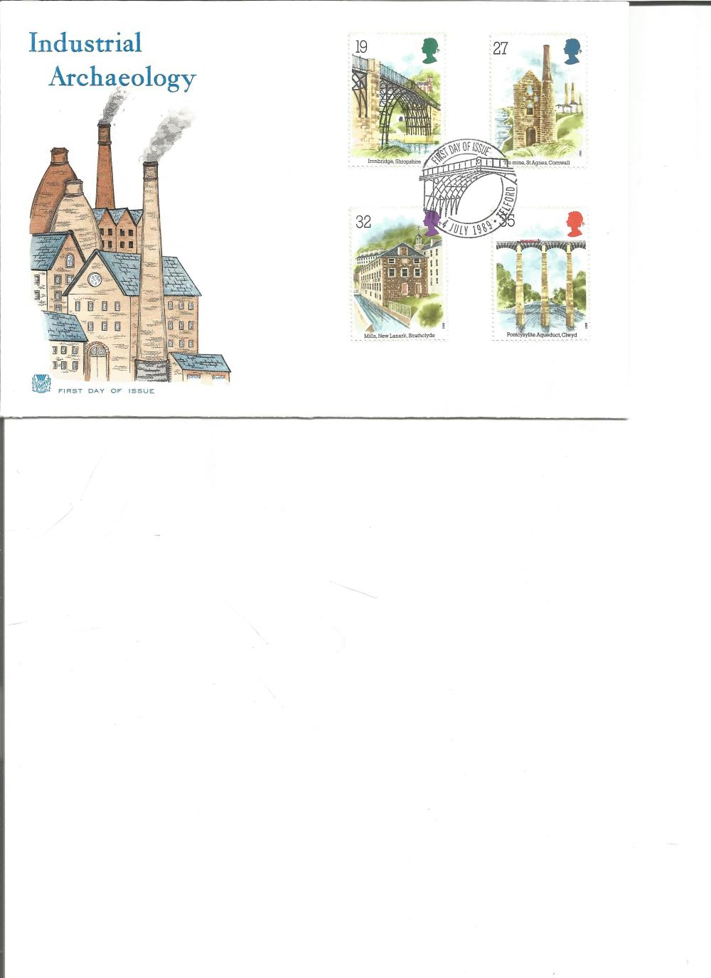 FDC Industrial Archaeology c/w set of four commemorative stamps PM First day of Issue Telford 4th