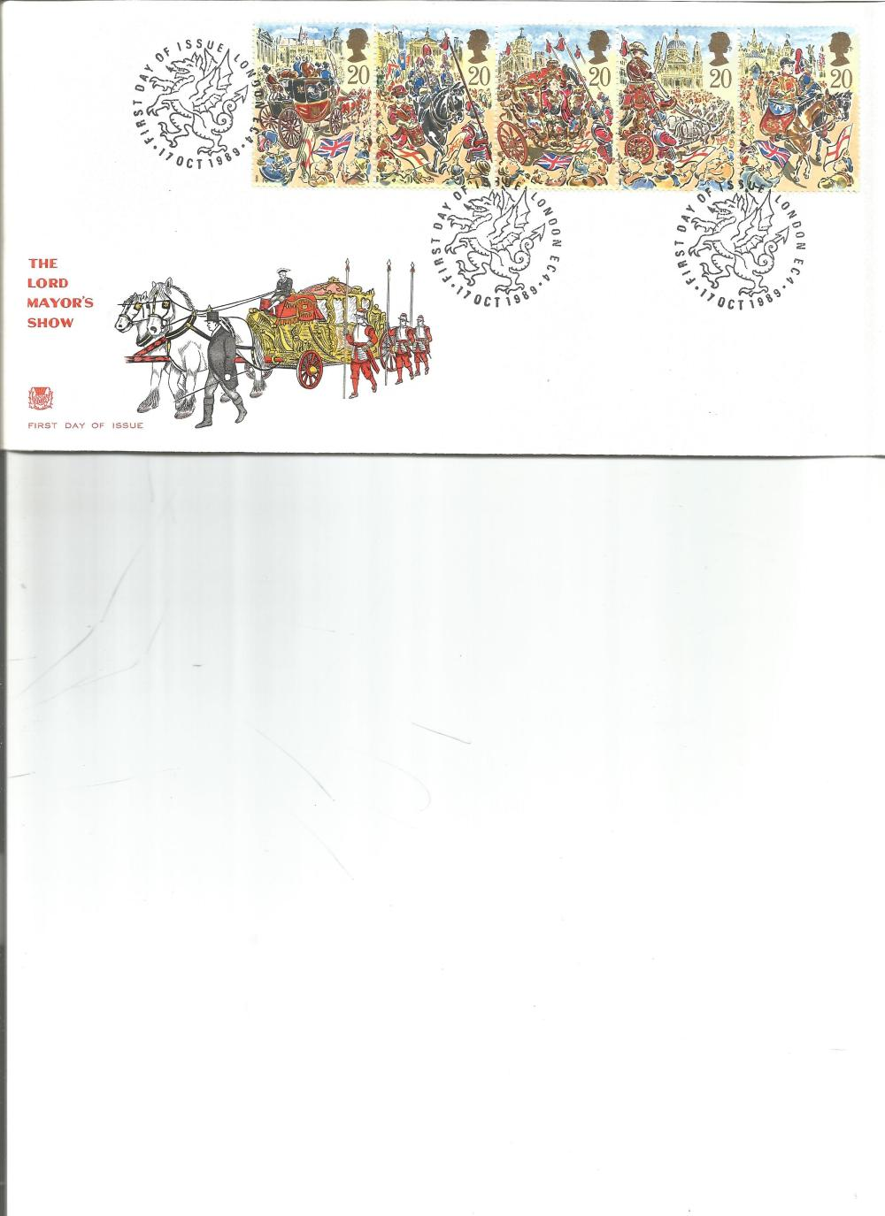 FDC The Lord Mayor Show c/w set of five commemorative stamps triple PM First Day of Issue London EC4