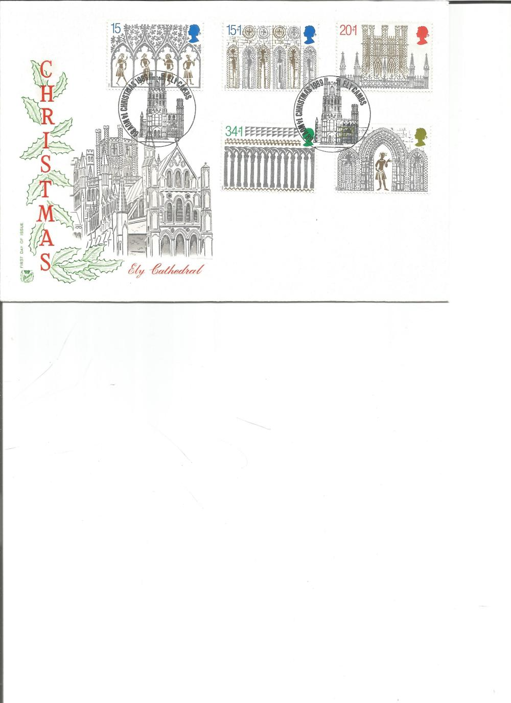 FDC Christmas Ely Cathedral c/w set of five commemorative stamps double PM Ely CAMBS, Christmas 1989