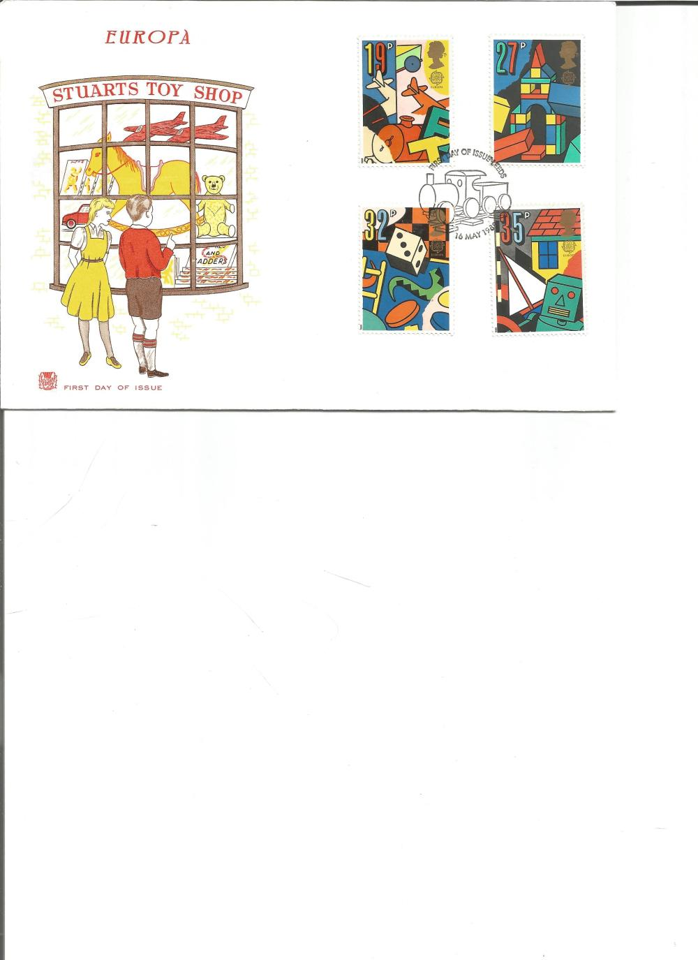 FDC Europa Stuarts Toy Shop c/w set four commemorative stamps PM First Day of Issue 16th May 1989.