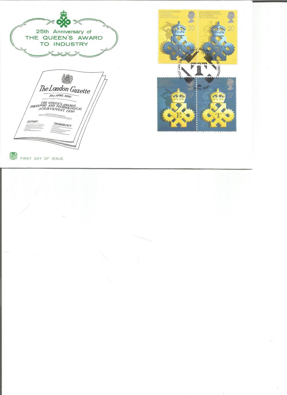 FDC 25TH Anniversary of the Queens Award to Industry c/w set of four stamps PM First Day of Issue