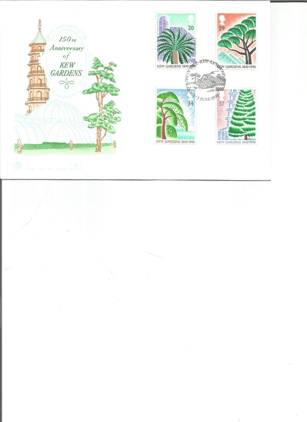 FDC 150th Anniversary of Kew Gardens c/w set of four commemorative stamps PM First Day of Issue ,
