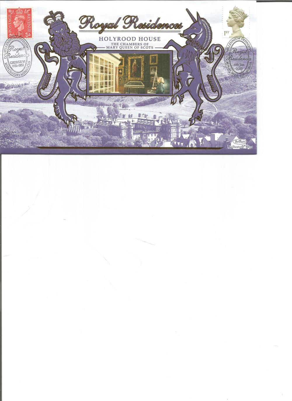 FDC Benham Millennium Definitive Royal Residences Holyrood House BS SP26 PM 6th Jan 2000. We combine