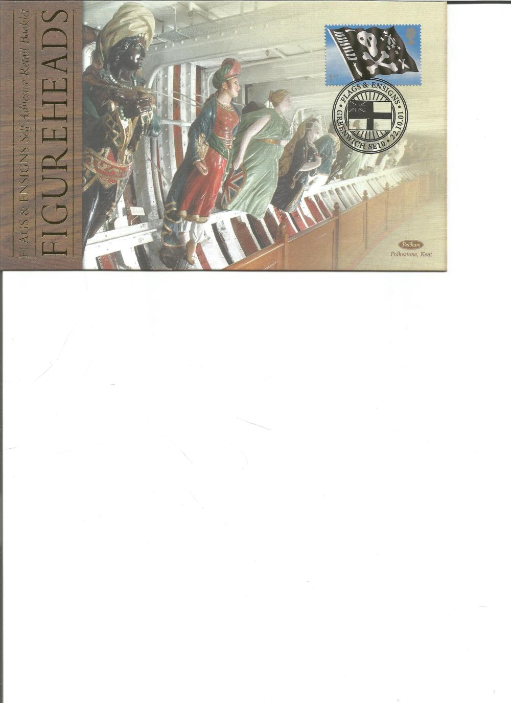 FDC Benham pair of covers Flags and Ensigns Figure Heads Retail Booklet BSSP64-65 PM 22. 10. 01.