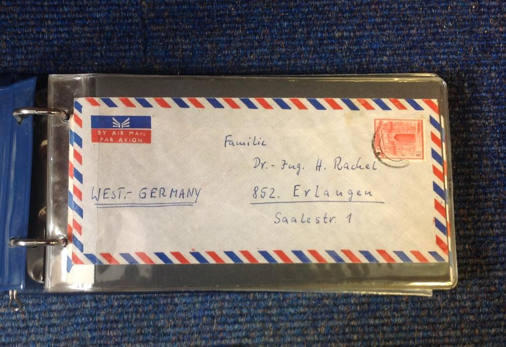 German Air Mail collection includes over 50, envelopes from around Germany handwritten, typed and