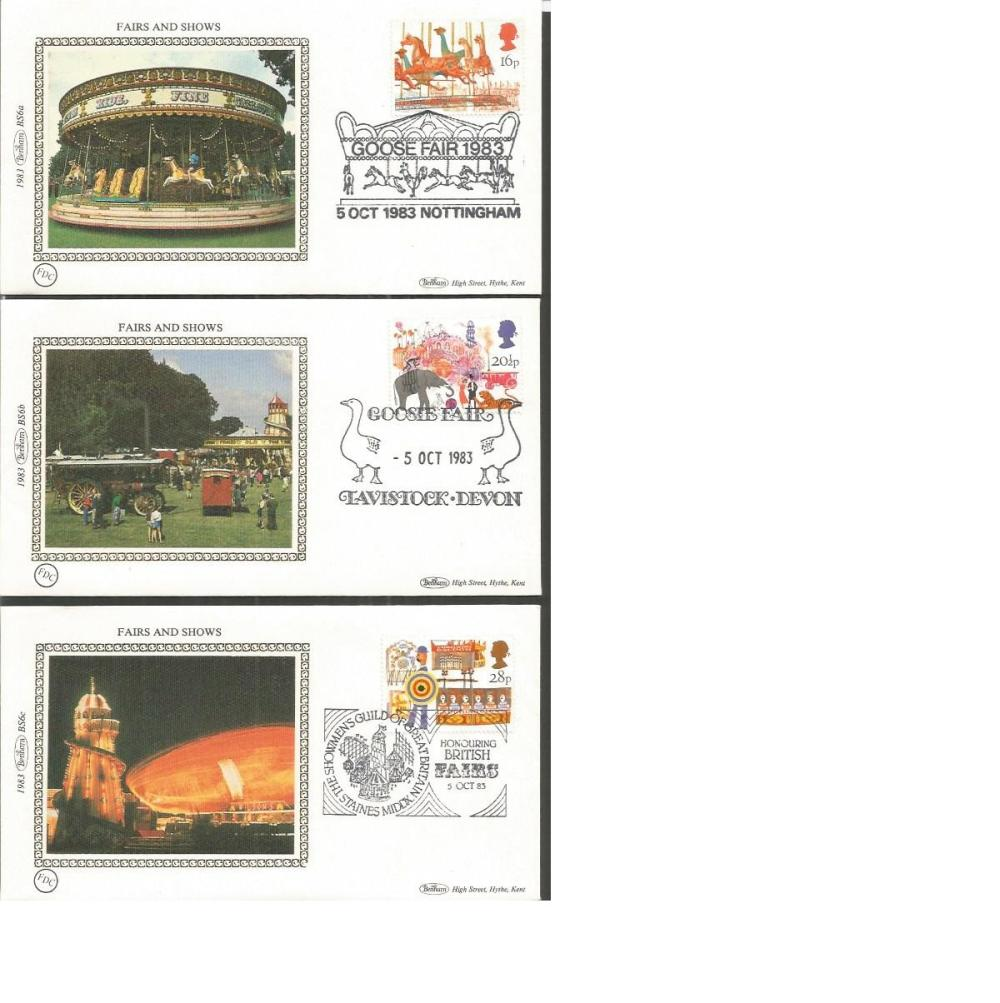 Benham 1983 small silk FDC collection in blue suede album. Fairs and Shows 1983 BS6 Christmas 1983