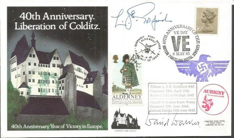 Colditz POWs J Goldfinch and D Walker signed cover