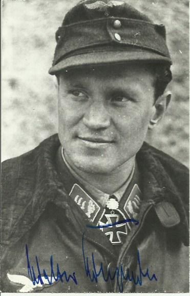 Walter Krupinski autographed photo. Black and whit