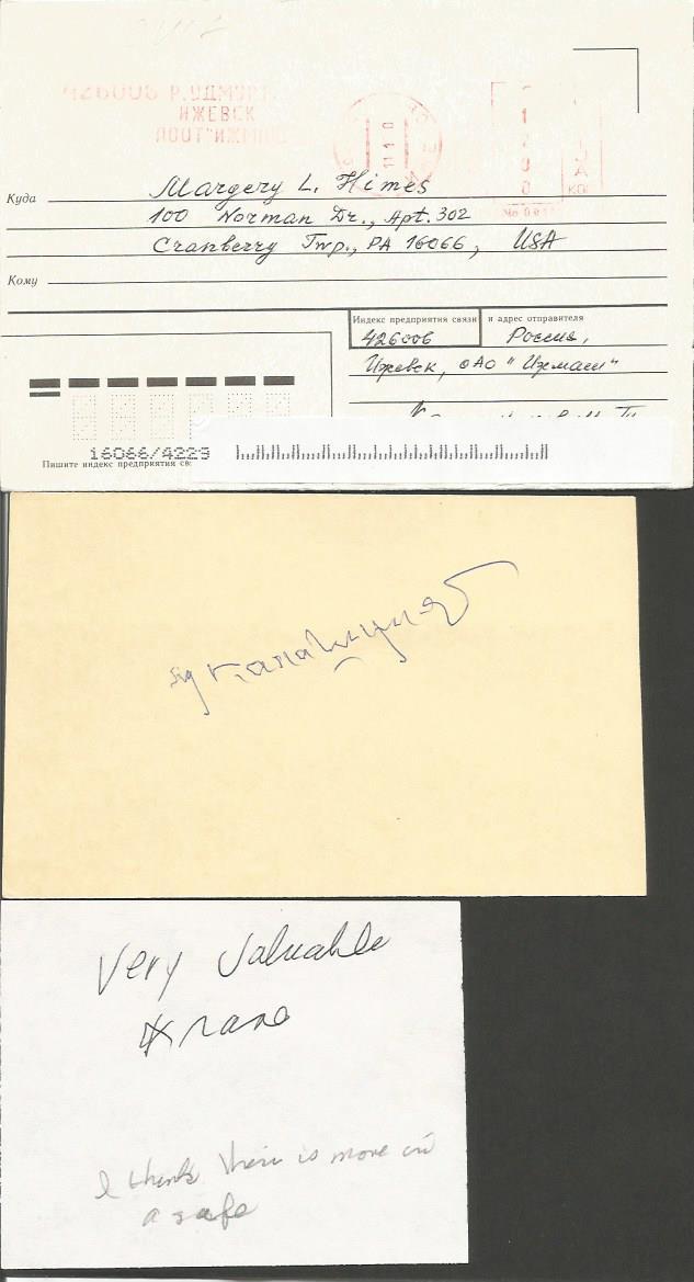 Mikhail Kalashnikov autographed card. Clean off wh