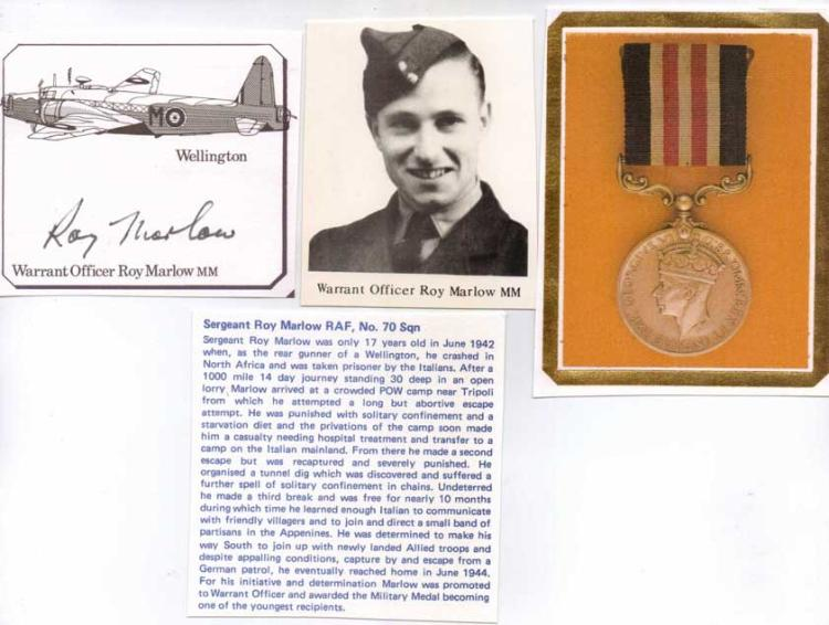 Warrant Officer Roy Marlow MM. Signature of 17 yea