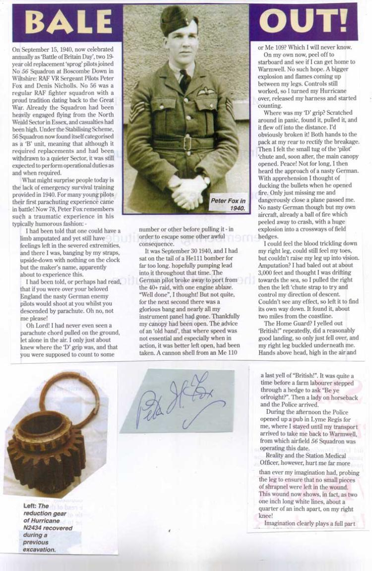 Signature of WARRANT OFFICER PETER HUTTON FOX and