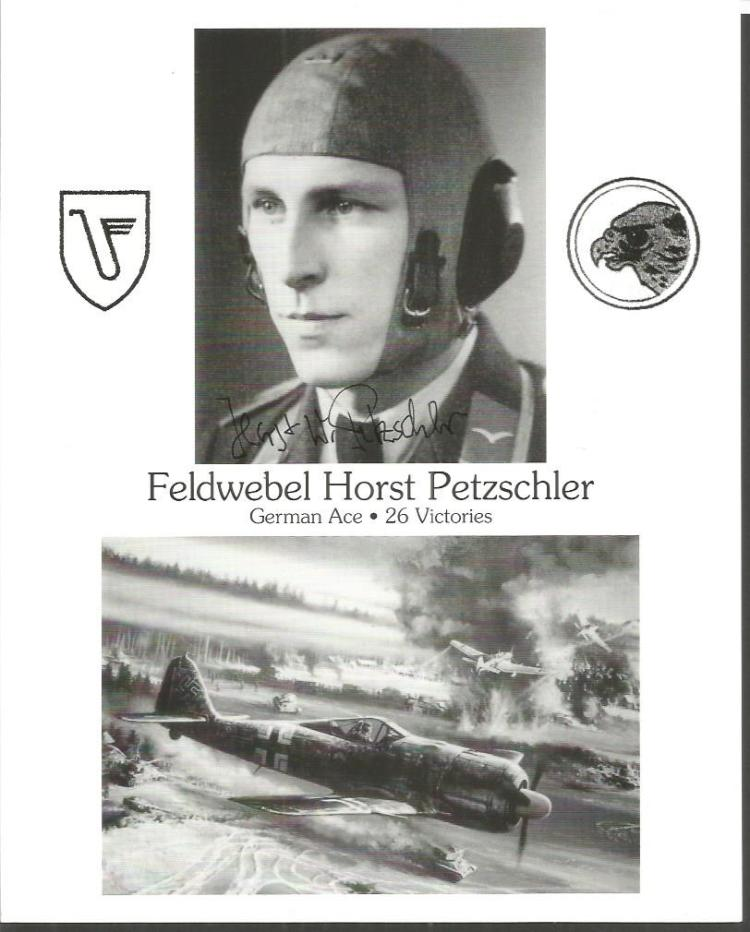 Feldwebel Horst Petzschler signed 10x8 b/w photo G