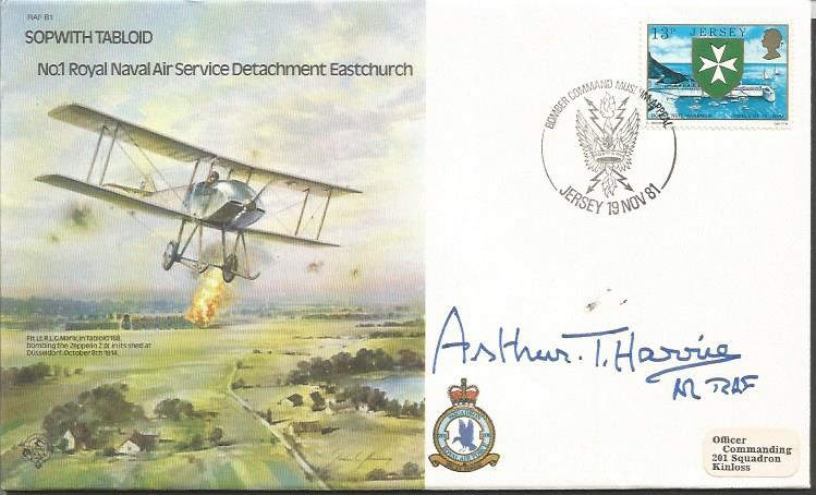 Arthur Harris signed RAF B1 cover Good condition.