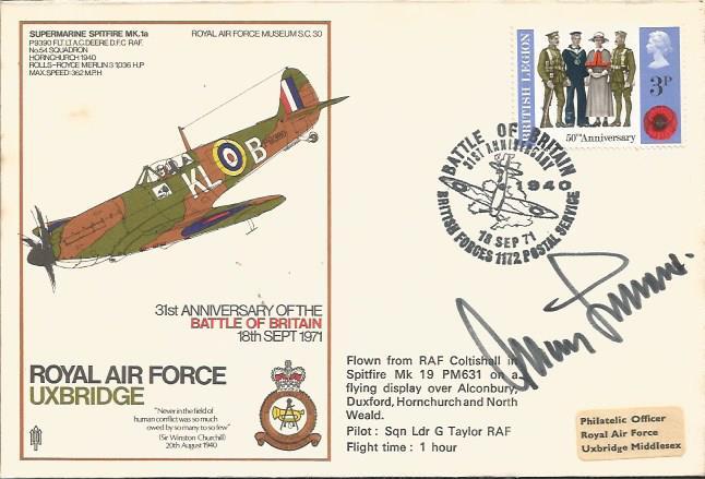 Adolf Galland autographed cover. 1971 RAF Uxbridge