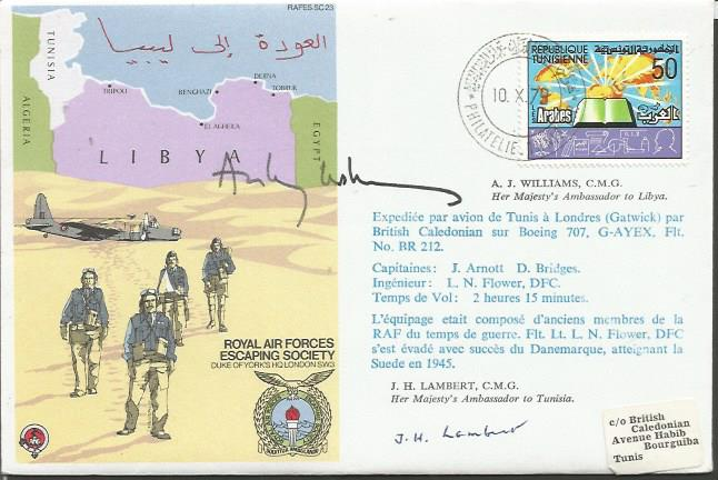 Escape from Libya signed cover. RAF Escape From Li