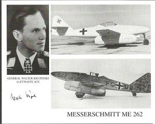 General Walter Krupinski signed 10x8 Messerschmitt
