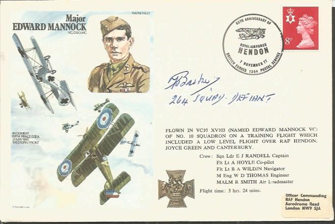 Sgt Frederick Barker 264 Sqn signed Mjr E Mannock