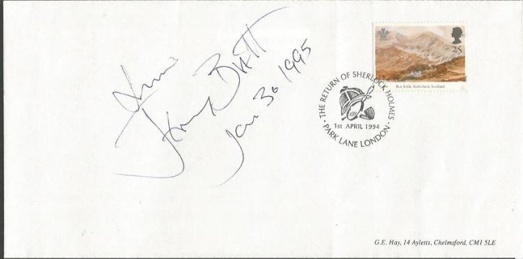 Jeremy Brett signed 1994 Plain FDC. Jeremy Brett (
