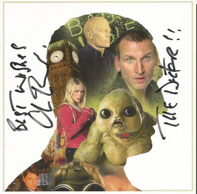 Christopher Ecclestone signed Dr Who blank greetin