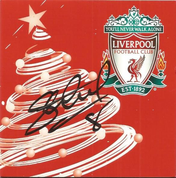 Steven Gerard signed Liverpool greeting card. A bl
