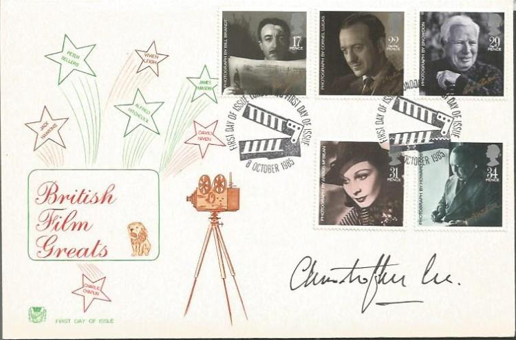 Christopher Lee signed British Film Greats FDC. Su