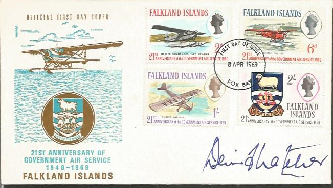 Denis Thatcher signed cover. 1969 Falkland Islands