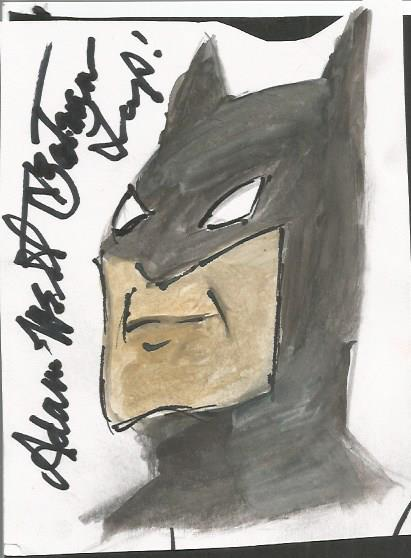 Adam West signed Batman original sketch. Unusual w