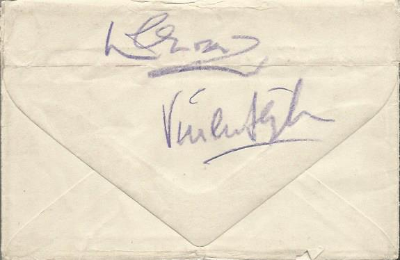 Laurence Olivier and Vivien Leigh signed envelope.