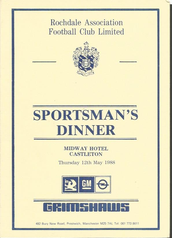 Sportsman's Dinner multi signed menu. 1988 Rochdal